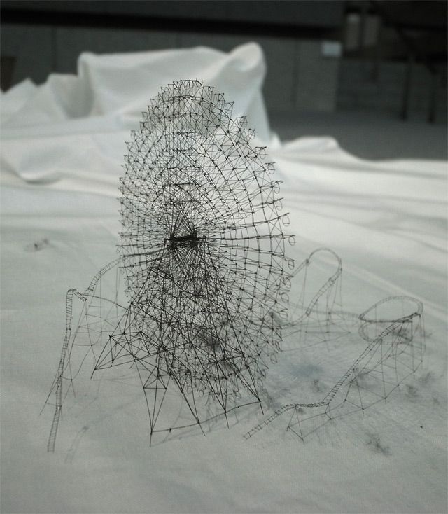 Out of Disorder: Topographical Maps Carved from Electrical Tape and Intricate Thread Sculptures by Takahiro Iwasaki Roller Coaster Made of thread
