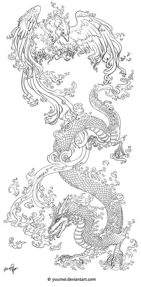 Phoenix vs dragon tattoo design