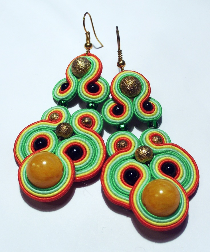 soutache earrings with yellow quartz