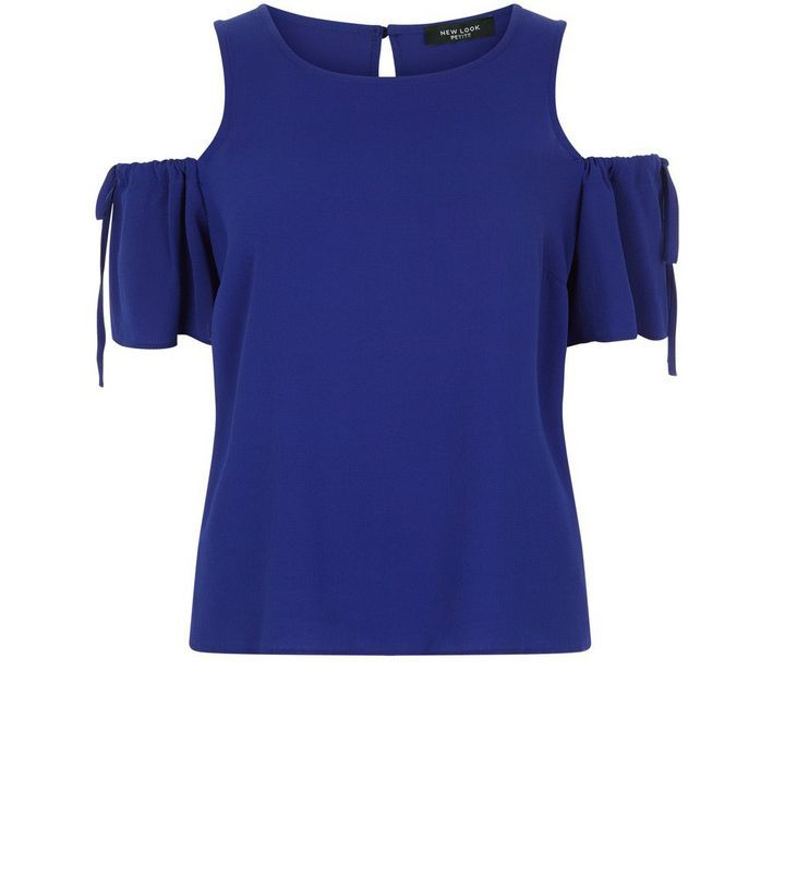 Petite– Blaues, schulterfreies Top mit Schnürung und Rüschen | New Look