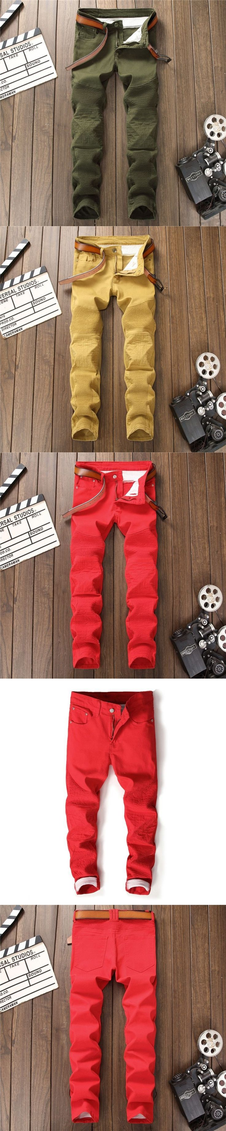 European American style 2018 luxury quality new mens jeans Pockets slim casual Denim jeans pants for men red army green  khaki