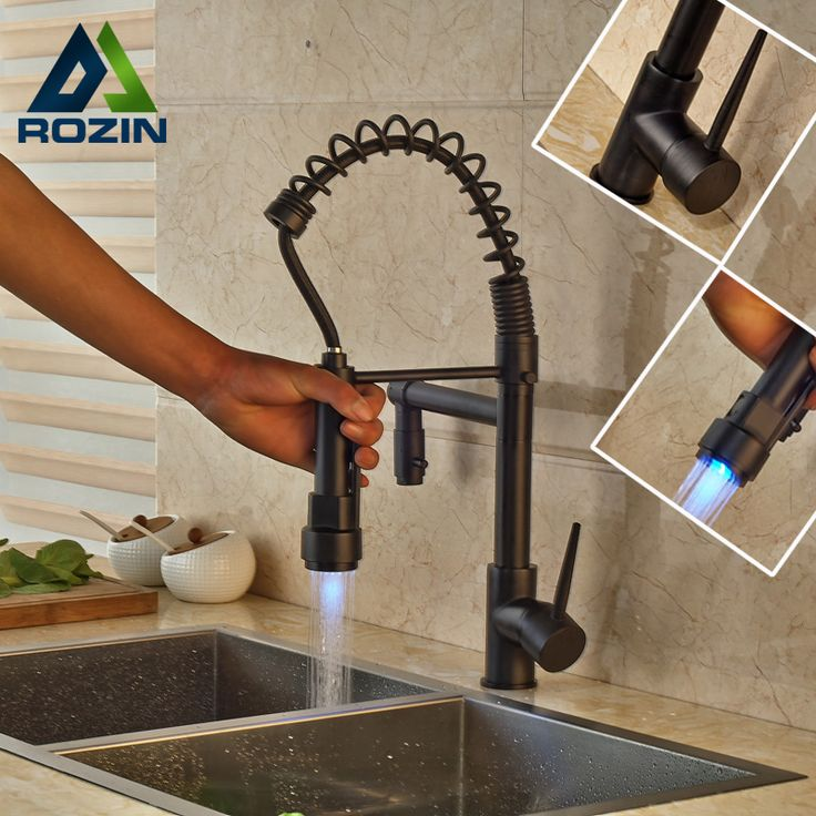 Oil Rubbed Bronze Newly Bathroom Kitchen Sink Faucet LED Color Changing Dual Spout Kitchen Mixer Taps #Affiliate