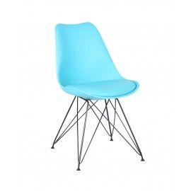 Dean-Consilium - Eetkamerstoel - Blauw - Zwart Chroom. DEZE STOEL HEEFT U GEZIEN IN DE TROUW, PAROOL EN DE VOLKSKRANT.  De Dean stoel is een schitterende en tijdloze stoel voor slechts 69 euro per stuk. De stoel is voorzien van een verchroomd of zwart poeder gecoat onderstel en een comfortabel gestoffeerd zitkussen in bijpassende kleur.