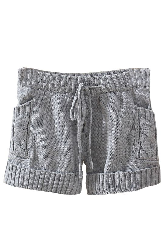 Grey Drawstring Cable Knit Sweater Shorts - Sheinside.com