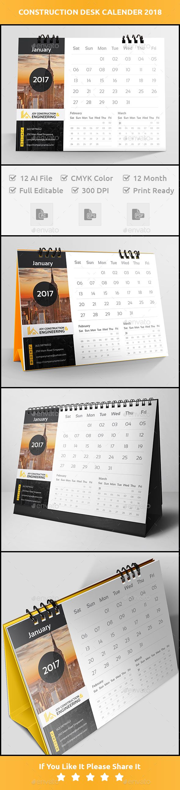 This is a Construction desk calender 2018. All elements are easily editable and customizable.Features:12 AI, 12 EPS, 12 PDF file S
