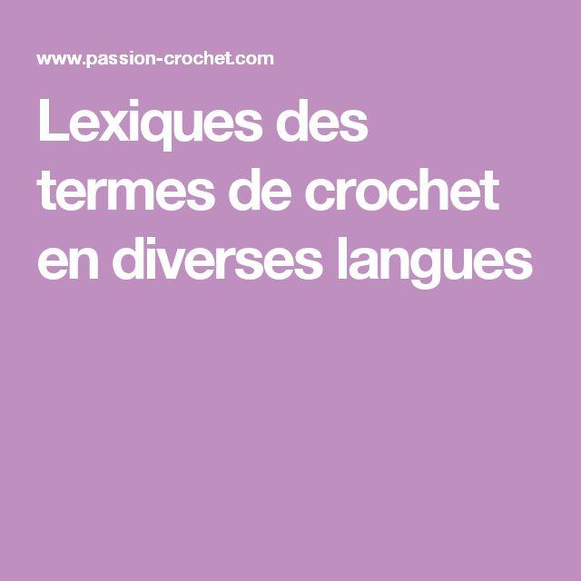 Lexiques des termes de crochet en diverses langues (anglais, allemand,  espagnol, italien