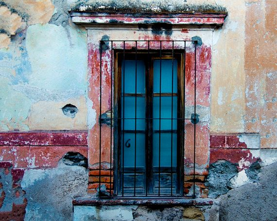 Vintage window and wall in Antigua Guatemala - photograph red blue barred Mexico shabby chic vintage - Ravishing Windows 2 - lat0003
