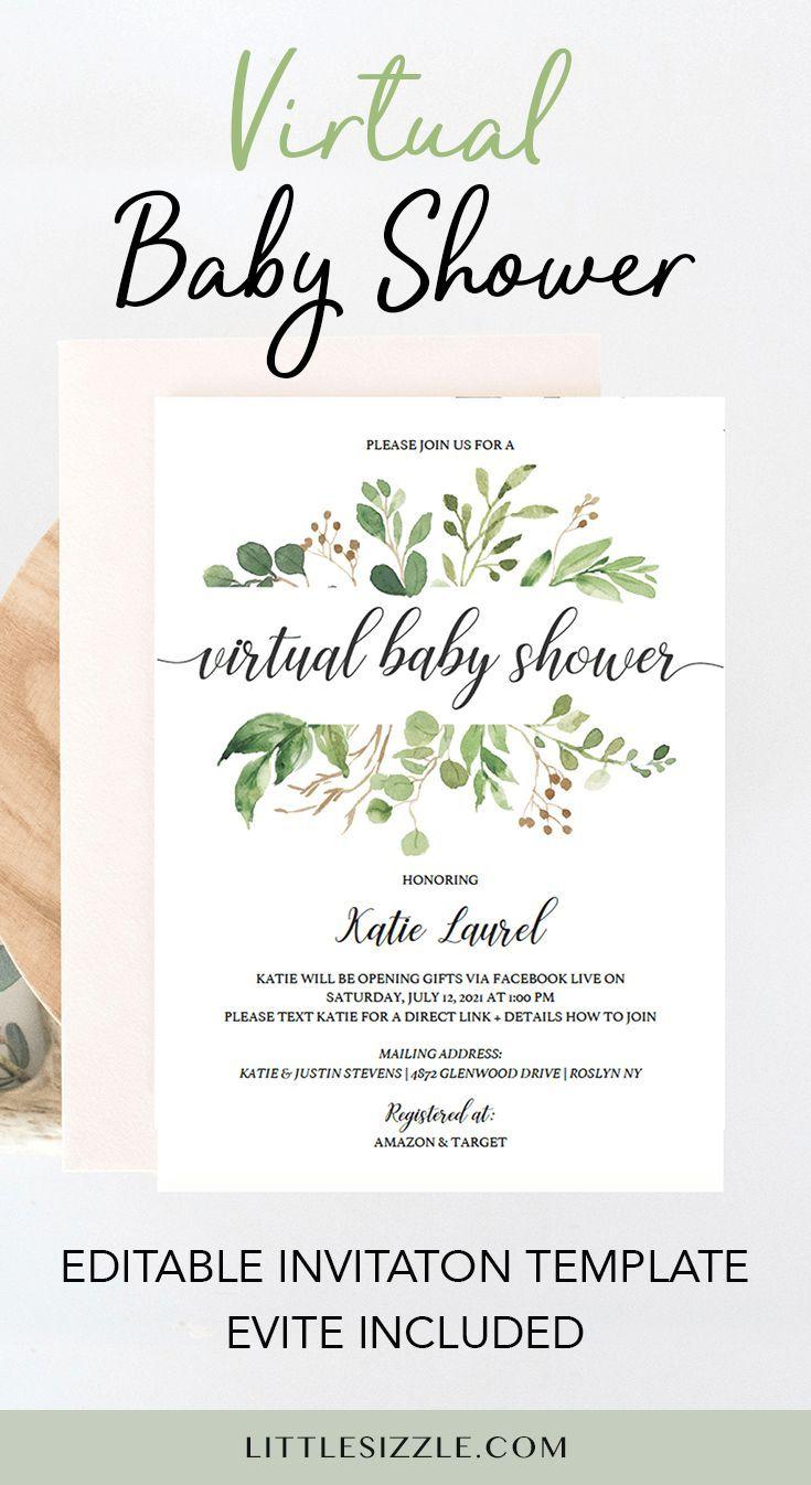 Greenery Virtual Baby Shower Invitation Template Virtual Baby Shower Virtual Baby Shower Ideas Virtual Baby Shower Invitation