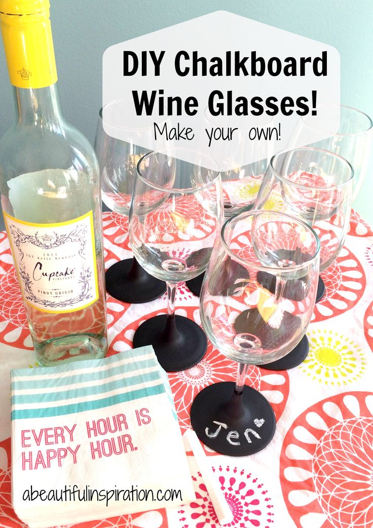 Fun DIY Chalkboard Wine Glasses you can create for your next party!