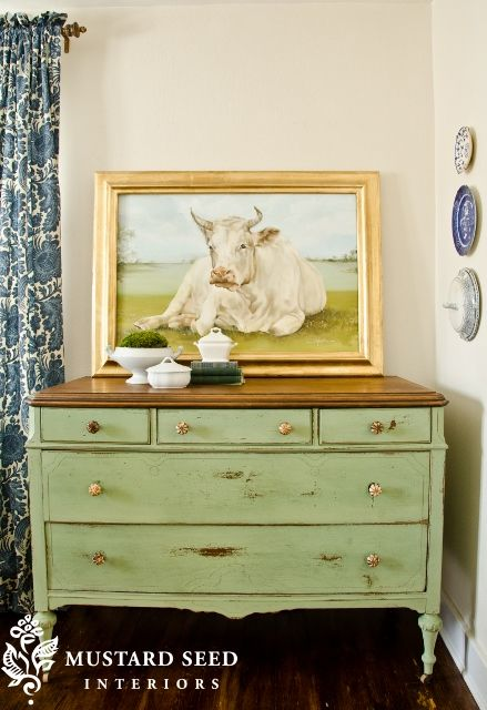 Antique White Chalk Paint Dark Furniture Shows Through