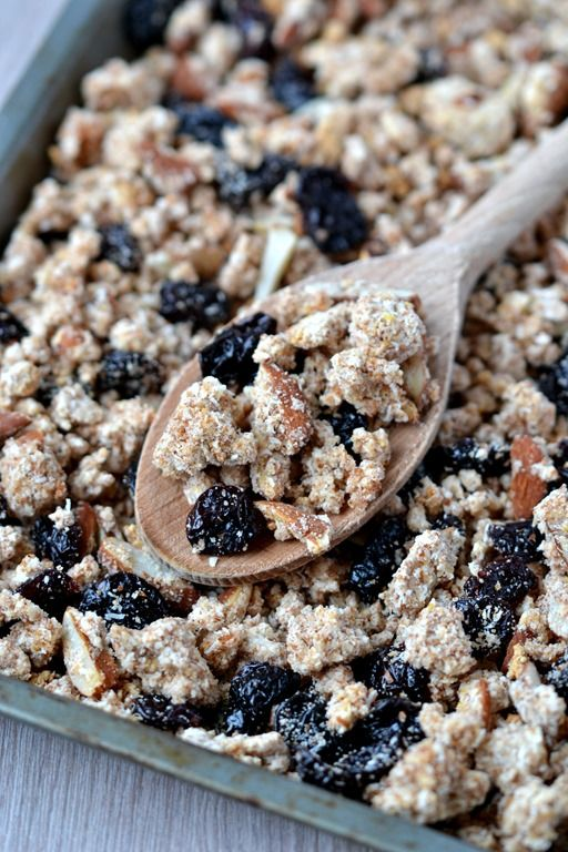 Cherry-Coconut Almond Pulp Granola | coconutandberries.com - Genius use for almond pulp leftover from making almond milk!