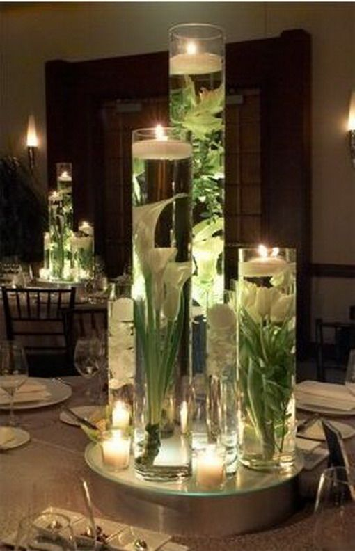 Best Winter Weddings Images On Pinterest Wedding Decoration - Beautiful flowers candles centerpieces romanticize table decoratio