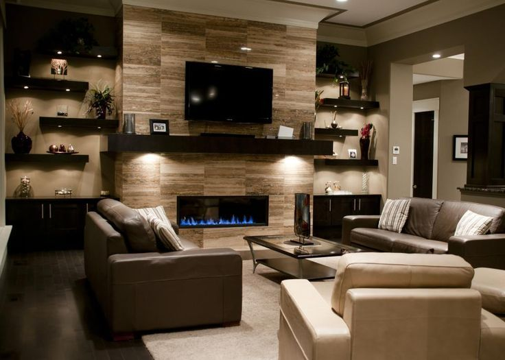 shelving units for living room on sides of fire places and placement of gas fireplace tv with mantle only in gray stacked rock