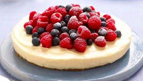 Heavenly lemon cheesecake on a ginger crust