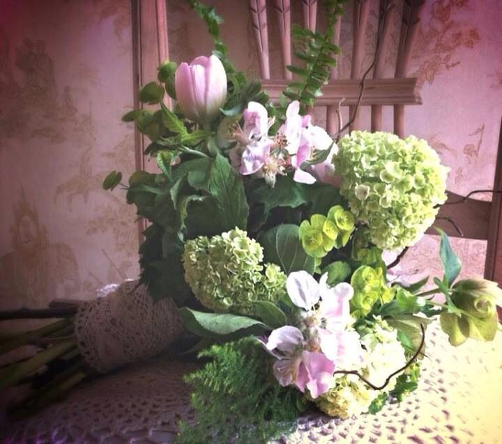 Wedding Bouquet Of May Using Apple Blossom, Hellebore Seed