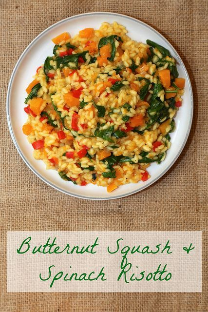 Butternut Squash & Spinach Risotto - this was excellent. Give more time for risotto to cook.