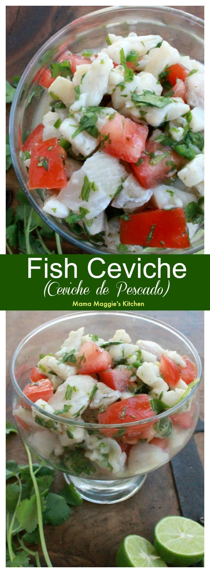 Fish Ceviche, or Ceviche de Pescado, is the perfect warm weather food. You never feel heavy after you eat it. It's full of all my favorite Mexican flavors. by Mama Maggie's Kitchen #ceviche #mexicanfood #fish