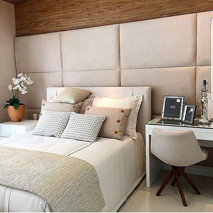 Muuuuuuito amor por esse quarto elegante e acolhedor na medida . Projeto Patrícia Franco e Cláudia Pimenta