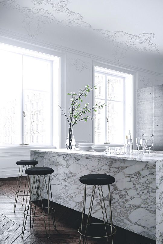 Arrabescato marble, white kitchen island, French architecture mouldings, minimalist, modern, clean and white, neutral kitchen