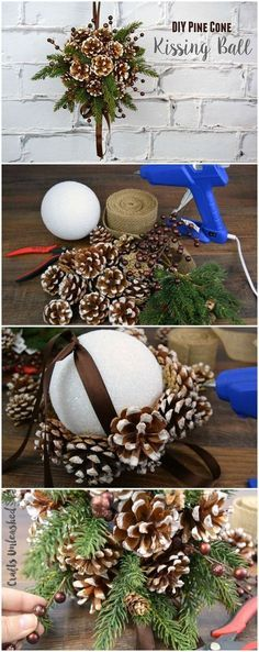DIY Kissing Ball with Pine Cones. This beautiful pine cone DIY kissing ball is the perfect alternative to the traditional winter wreath for the fall and holiday decoration.