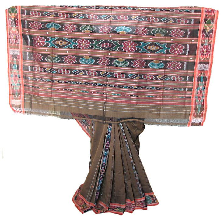 Brown Handwoven Sambalpuri Ikkat Design Sari with Light Saffron Border and Pallu (Pure Cotton))