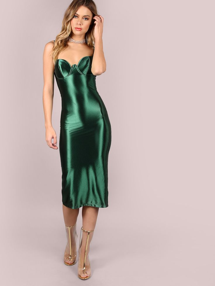 Green Slit Back Bustier Cami Sheath Dress Gt Gt Just Landed