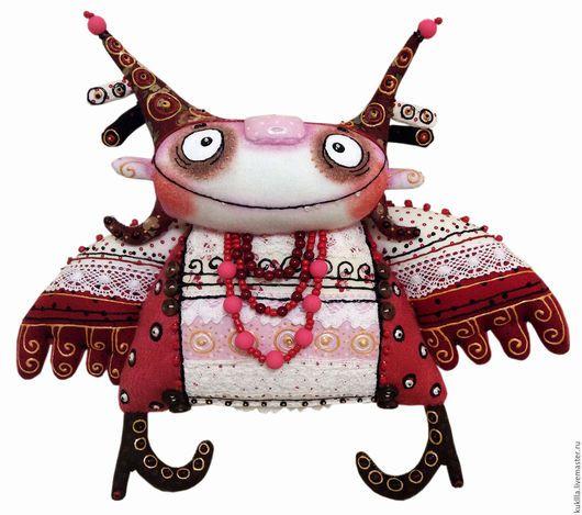 Коллекционные куклы ручной работы. Ярмарка Мастеров - ручная работа. Купить Рябиновый ангел. Handmade. Ярко-красный, подарок, ткань