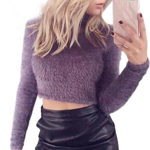 eb3ee7b7a2cf31 Autumn Women Sweaters Pullovers Knitted Fluffy Jumper Crop Top Turtle Neck Long  Sleeve Mohair Slim Knitwear Sueter Muje 6Q0500