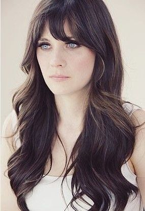 Long Wavy Brunette Hairstyle with Bangs....aiming for this length, we'll see how far I get