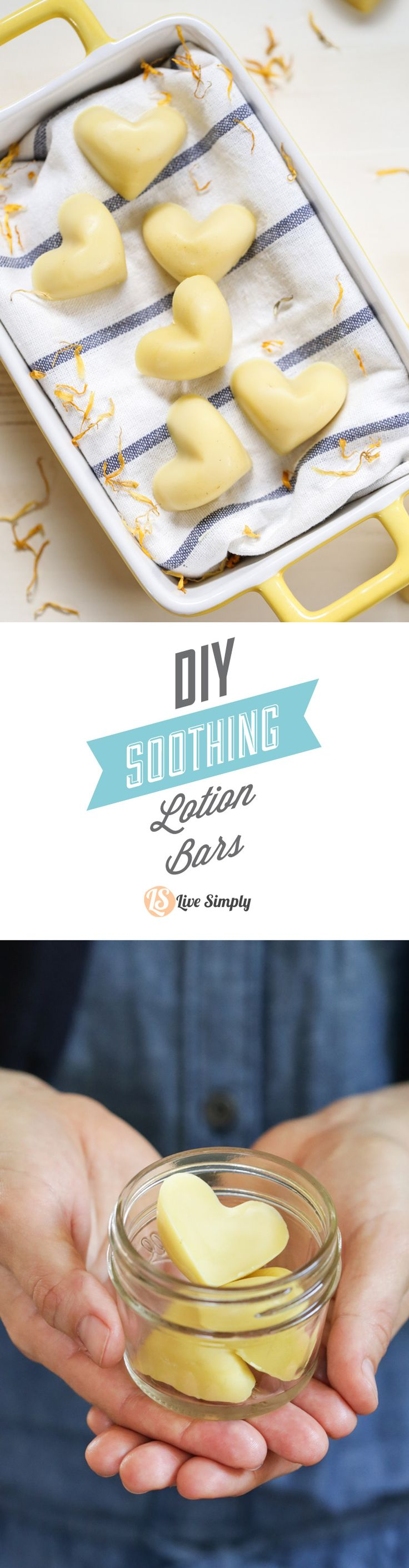 DIY Soothing Lotion Bars! These simple, little bars are the perfect lotion bars for soothing stressed, tired, burned, or even acne-scared skin. These lotion bars also make the perfect little gift--just add a few to a mason jar. Full recipe and tutorial, plus a video instruction: http://livesimply.me/2015/03/28/diy-soothing-lotion-bars/
