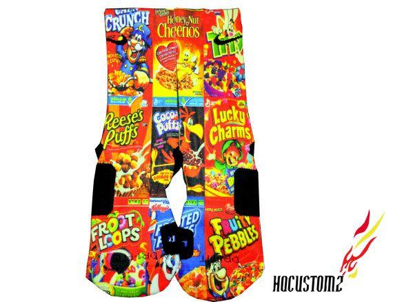 Cereal Boxes Custom Nike Elite Socks ALL SIZES by HQcustomz