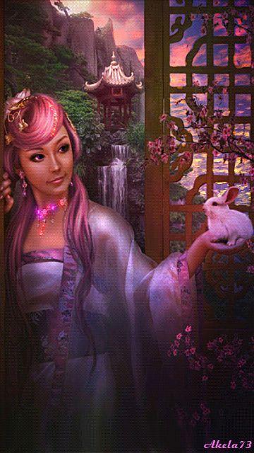 Анимация Готическая девушка в сиреневом наряде с зайчиком в руке