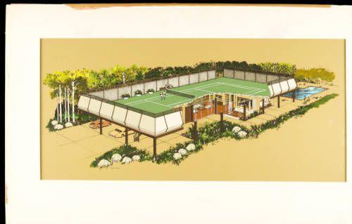 fickett-tenniscourt-001~1 :: Rendering, Tennis Court House, 1971 :: Edward H. Fickett, FAIA, Collection. http://digitallibrary.usc.edu/cdm/ref/collection/p15799coll25/id/211