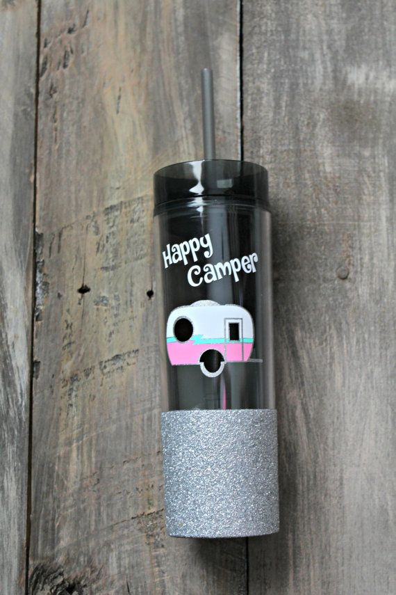 This is for one personalized water bottle with Happy Camper and camp trailer on it. The trailer has a silver glitter outline with white, pink and mint body. The bottom portion of the tumbler is coated with silver glitter. These are 16 oz acrylic double wall tumblers. If you would like a different color on the trailer please let me know and I will try and accommodate. These are made with high quality permanent vinyl made to endure indoor as well as outdoor use. Do not put in the dishwasher or…