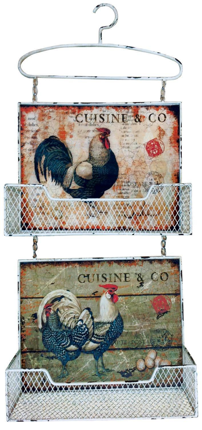 "Handsome Rooster Distressed Two Tier Wall Pocket. Height: 25.5"" - 65cm Width: 11"" - 28cm"