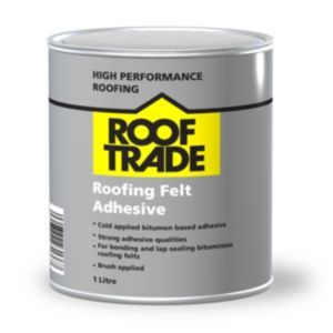 ROOFTRADE Black Roofing Felt Adhesive 1L Rooftrade Black Roofing Felt Adhesive 1L.This roofing felt adhesive is suitable suitable for fixing roofing felts to concrete metal plywood and osb 3 board. (Barcode EAN=5060382231466) http://www.MightGet.com/april-2017-1/rooftrade-black-roofing-felt-adhesive-1l.asp