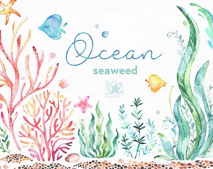Océano. Algas marinas. Prediseñadas de acuarela bajo el agua plantas de agua, seaware, peces, estrellas de mar, mar, acuario submarino, náutica, babyshower, alga