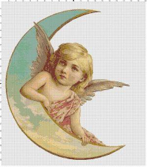 Two Moon Angels Vintage Cross Stitch Pattern by SnarkyArtCompany