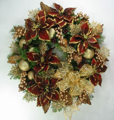 burgundy gold elegant christmas wreath by ed the wreath guy - Elegant Christmas Decor