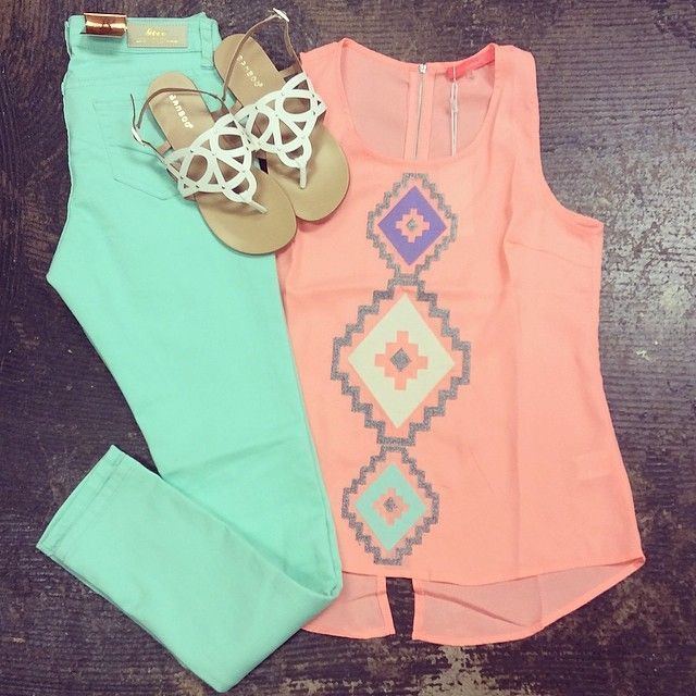 cute outfit with mint jeans