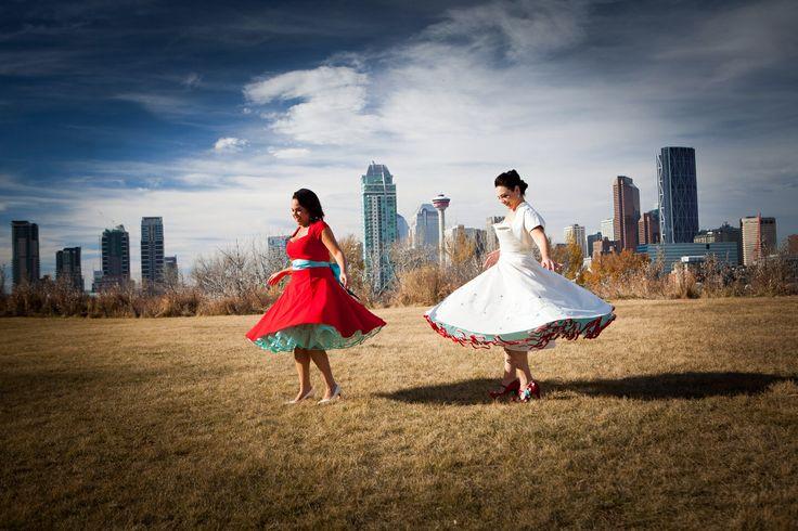 Retro style dresses with coloured crinolines