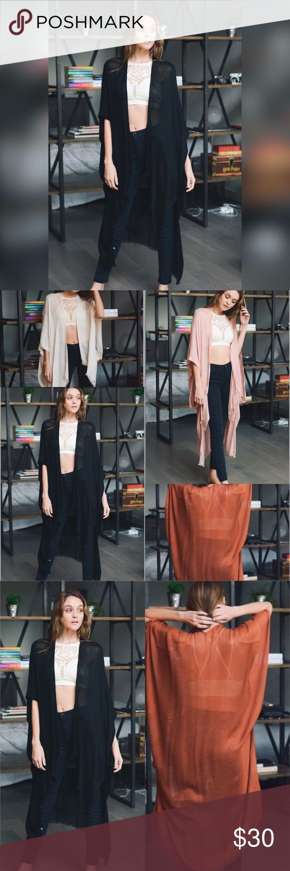 """SALE!!! BLACK KIMONO/JACKET/DUSTER Black one size long kimono-style jacket. A great piece for fall! Length is 42"""". 100% Viscose. Also available in rust, blush, and nude. Accessories Scarves & Wraps"""