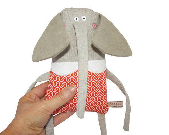 Elephant Art Dolls, Mother & Baby Elephant Stuffed Toy Animal, Elephant Soft Sculpture, Miniature Elephant Doll, Tiny Elephant, Poosac