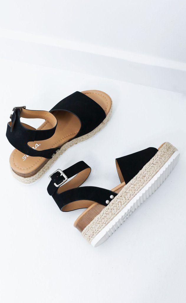 6a6fad4c91 roped in platform sandals | happy feet | Espadrilles, Black ...