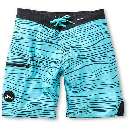 "The Imperial Motion Hanger turquoise and black 20"" board shorts have all you need to surf or be a beach bum in comfortable style. Be free to move thanks to a quick-drying 4-way stretch fabric and Tight & Right waistband to give the option to wear the Impe"