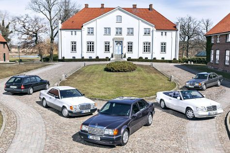 Mercedes-Benz E-class 1985-1996 (124 series) model variants. L-R: 300TE-24 estate, 300CE coupe, 500E sedan, E200 cabriolet, and 400E sedan.