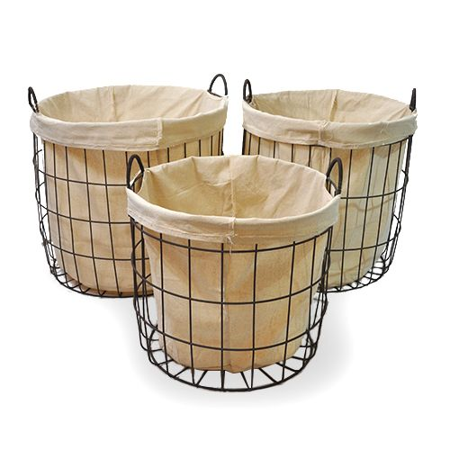 this site is life changing...super cheap and cute baskets. Stella Round Steel Utility with Cloth Liner  - Set of Three 20in