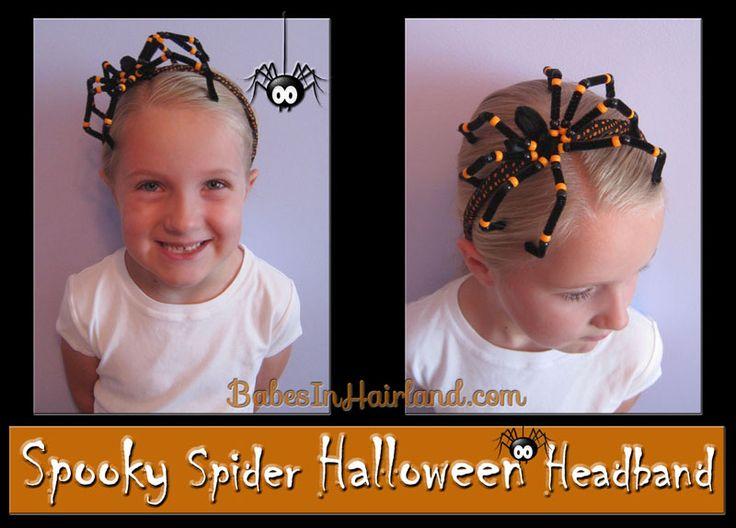 Spooky Spider Halloween Headband-  A fun & creep craft for Halloween!  #Halloween, #headbands, #hairstyles