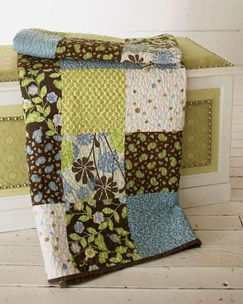 """This big block quilt is easy to make using 8-1/2"""" squares and goes together very quickly. It's the perfect project for a beginner quilter. Use your favorit"""