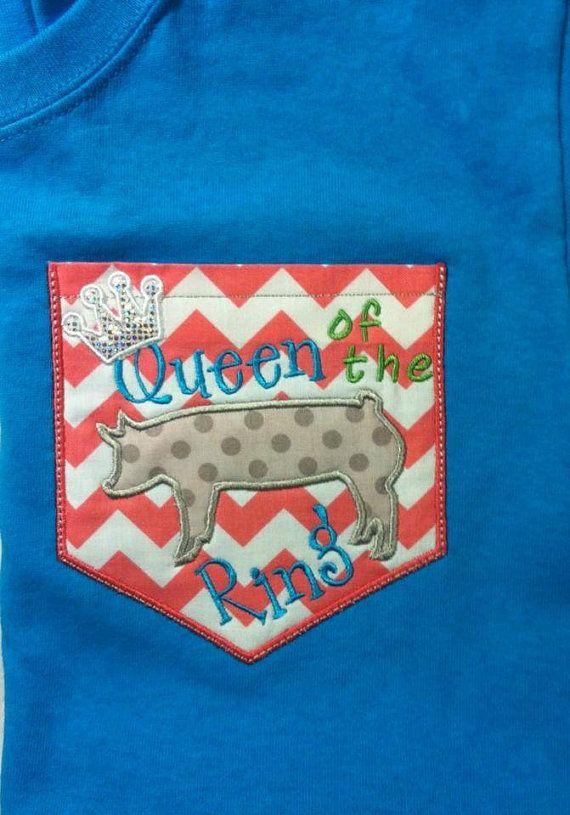 Short Sleeve Chevron Pocket tee Theme Custom shirt in 17 colors Show  Pig Hog show diva FFA 4-H Show Girls Queen of the Ring
